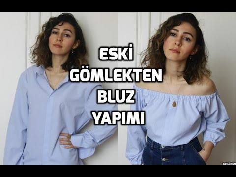 H&M Inspired /Kendin Yap / Eski Gömlekten Bluz Yapımı / DIY Off-Shoulder Top From an Old Shirt
