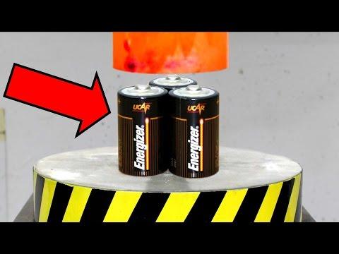 EXPERIMENT Glowing 1000 degree HYDRAULIC PRESS 100 TON vs BATTERY