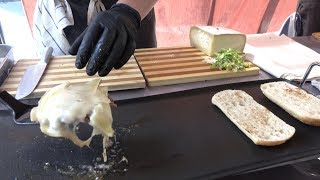 Grilled Italian Sausages and Melted Cheese. London Street Food