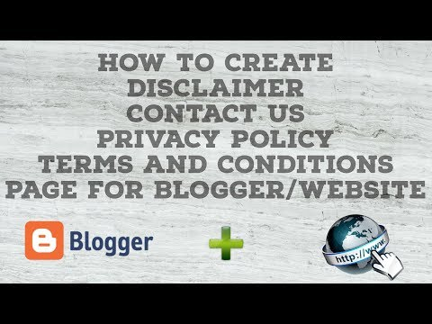 How to Create Terms and Conditions,Privacy Policy,Disclaimer,Contact Us Page for BloggerWebsite