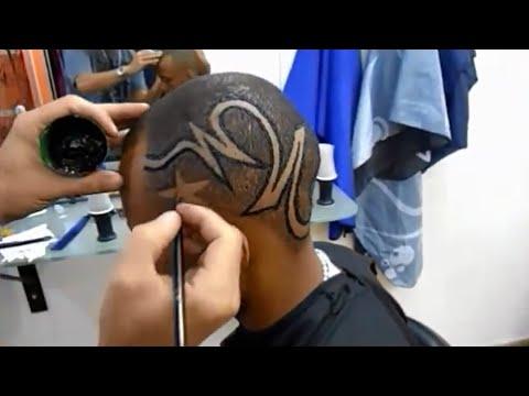 corte de cabelo masculino com desenho tribal jaé arte black