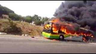 Metro Mass Bus Catches Fire At Kasoa (VIDEO)