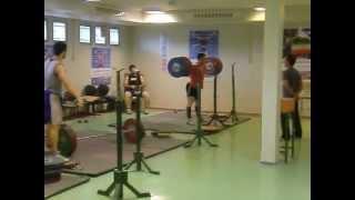 Behdad Salimi squating 350kg and 85kg lifter Sohrab Moradi Squating 310kg