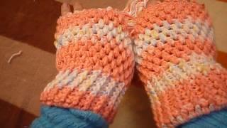 جوانتي بدون اصابع بغرزة البيف المنتفخة Crochet Mittens | gloves | Fingerless