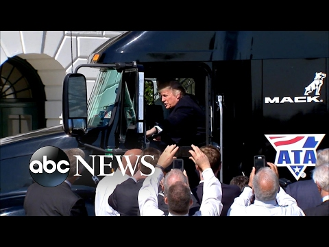 Donald Trump shows off his trucking skills