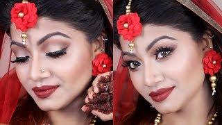 Simple Red Gaye Holud Makeup Tutorial - ASIAN WEDDING GUEST MAKEUP- Bangladeshi Bridal Makeup- LINDA