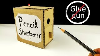How to make  Pencil sharpener MACHINE from cardboard DIY for SCHOOL || Electric  pencil sharpener