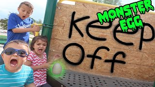 WE FOUND A MONSTER EGG AT THE PARK!!!