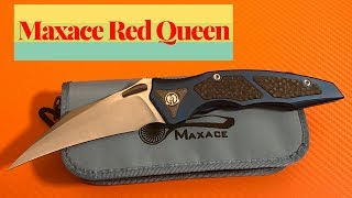 Maxace Red Queen knife  blue anodized titanium scales with carbon fiber inserts M390 steel blade