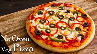 Pizza without Oven| Veg Pizza| Pizza in Kadhai|Homemade Pizza Dough & Sauce ~ The Terrace Kitchen