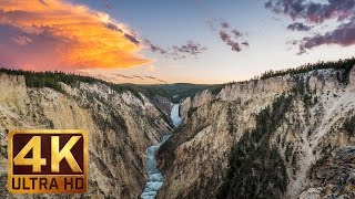 4K Waterfall Nature Scenery with  Music and Nature Sounds - WATERFALLS OF YELLOWSTONE - Trailer 37