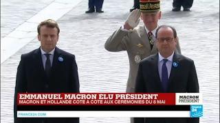 Cérémonies du 8 mai : le nouveau président élu Emmanuel Macron et François Hollande cote à cote
