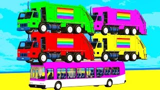LEARN COLORS with GARBAGE TRUCK & BUS Spiderman Cartoon for Kids w Cars Superheroes for babies