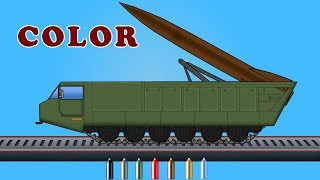 Kids TV Channel | Ballistic Missile |  Learn Colors with Vehicles | Coloring Videos For Kids