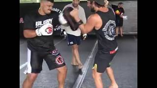 Junior Tafa pad conditioning session for GLORY heavyweight tournament