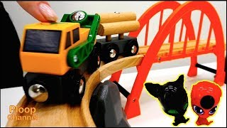 UNPACKING Brio Railway! - Ladybugs Tikki & Plagg - LOGGING Truck & Trains Videos for kids