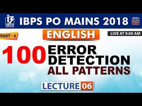 100 Error Detection   Part 4   Lecture 6   IBPS PO Mains 2018   English   9:00 AM