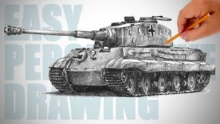 How to draw a tank (Tiger II - Konigstiger) - Easy Perspective Drawing 28