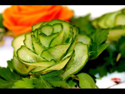 Как сделать роза из огурца