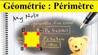 Calculer le périmètre d'un carré : Initiation à la géométrie CM1 CM2  6ème