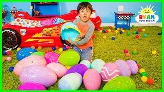 Huge Easter Egg Hunt Surprise Toys Challenge for kids with Ryan ToysReview