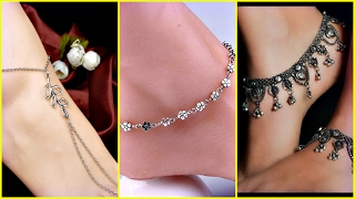 Light Weight Fancy Silver Anklets Designs 2017