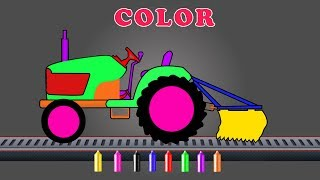 Color Tractor With Equipment | Coloring Video For Kids