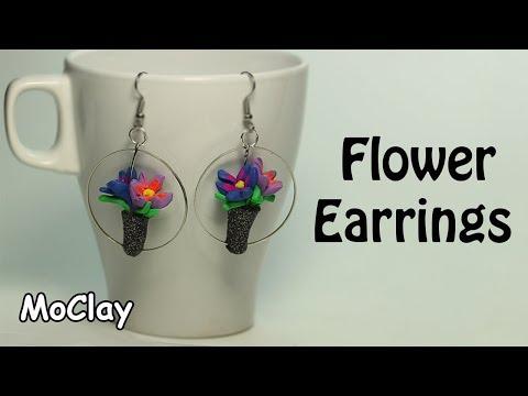 DIY Mini Flower Earrings - Polymer clay tutorial