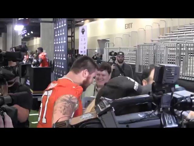 "TigerNet.com - Jay Guillermo from ""Super Hot News Crew"" interviews players at Championship Media Day"