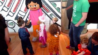Little Girl meeting Dora at Halloween Party