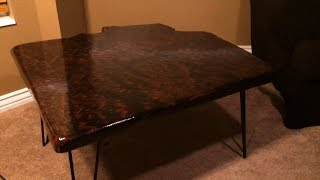 Redwood Burl Table with Hairpin Legs