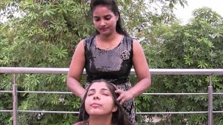 Heavy hair oiling and Hair massage with oil for Women
