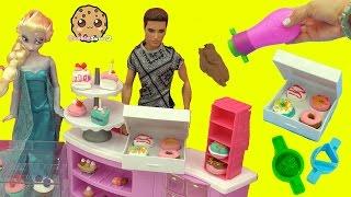 Queen Elsa & Princess Anna Order Mini Donuts at Barbie Bakery - Poppit Air Dry Clay Dough Playset