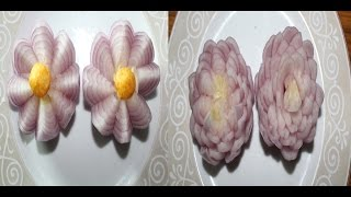 Onion flowers in two designs-Garnishing for Salad/food-vegetable Art