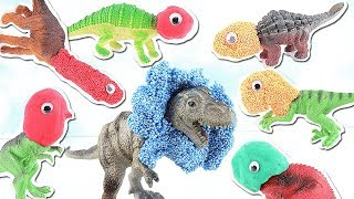 SCARY DINOSAURS AT JURASSIC PARK!!! | HIDE AND SEEK | Learn Dinosaur Names for Kids~~ REX