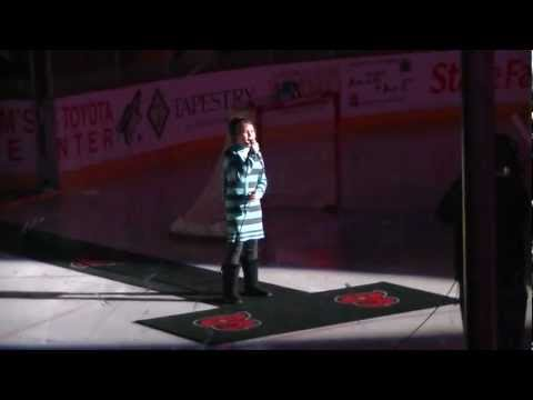 10 Yr Old Athena Creese - American National Anthem Hockey Game