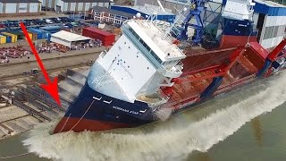 Big Ship Launch Compilation   12 Awesome Ship Launches, Fails and Close Calls