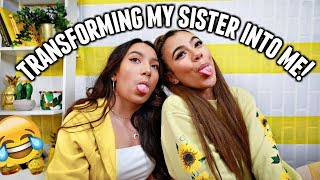 TRANSFORMING MY SISTER THAT HATES MAKEUP INTO ME CHALLENGE!