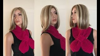 How to Knit a Garter Stitch Bow Tie Scarf Pattern #600│by ThePatternFamily