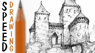 How to draw a castle - architecture speed drawing