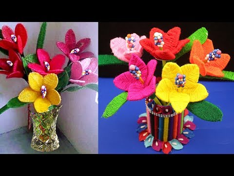 Xxx Mp4 DIY Waste Material Craft Waste Material Things How To Make Woolen Flower Step By Step 3gp Sex
