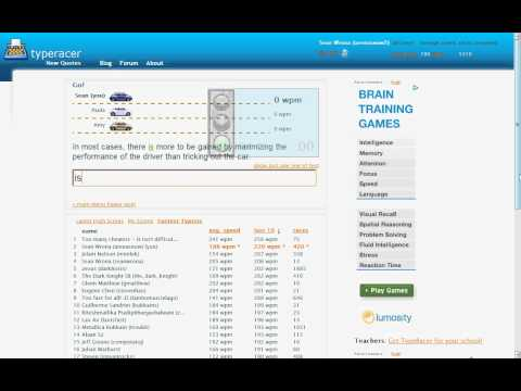 256 wpm race - former all-time TypeRacer record