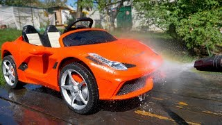Funny Baby Artur washing red Car Ferrari Ride on Power wheels by Melliart