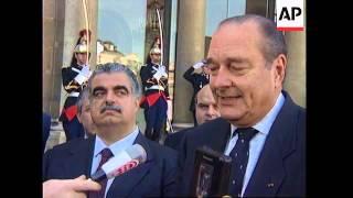 FRANCE: LEBANESE PRIME MINISTER HARIRI MEETS CHIRAC