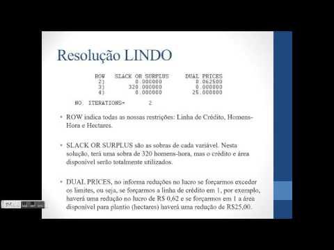 Pesquisa Operacional - Resolução pelo software LINDO