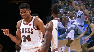 Giannis Antetokounmpo Dunks From Floater Range! Mavs vs Bucks 2017-18 Season