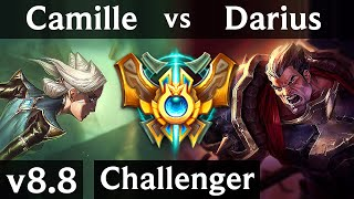 CAMILLE vs DARIUS (TOP) ~ Pentakill, Godlike ~ Korea Challenger ~ Patch 8.8