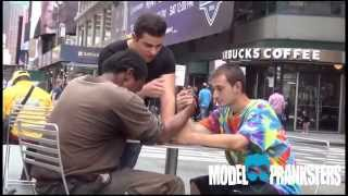 Two Homeless Guys Arm Wrestle For Money! Both winners