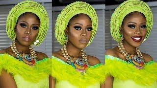 BASIC TO BRIDE 01: Nigerian/Yoruba Bridal Makeup And Gele Tutorial // Green Smokey Eyes
