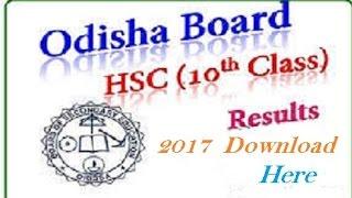 Odisha 10th Result 2017, Download BSE Orissa HSC Results 2017